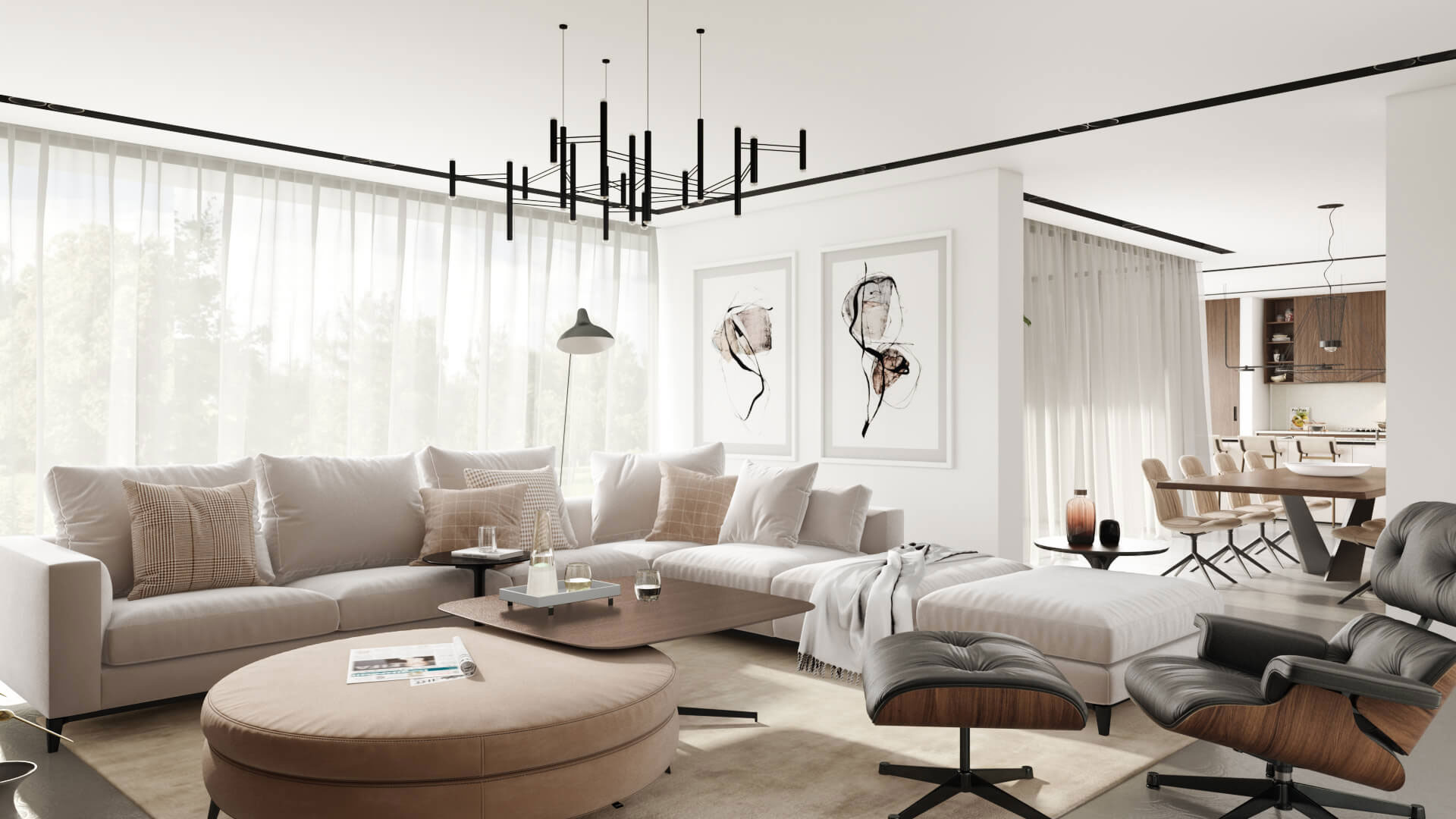 A 3D Image of a Neutral Living Room