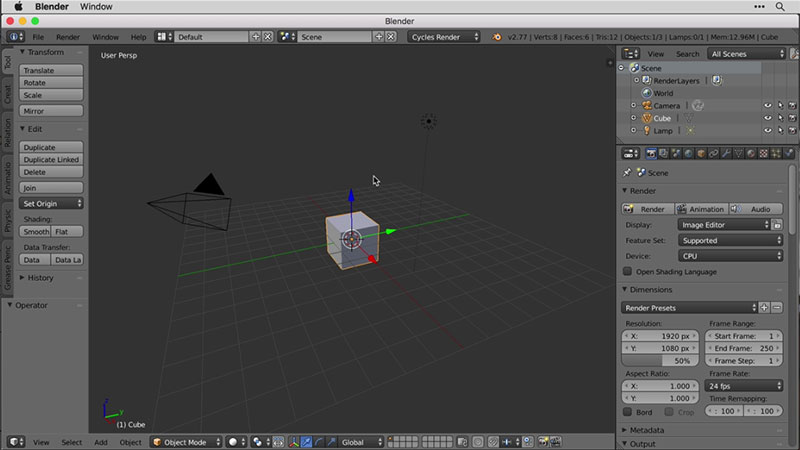 A Screenshot of Digital Modeling in Blender Software