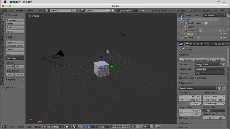 A Screenshot of Digital Modeling in Blender Software