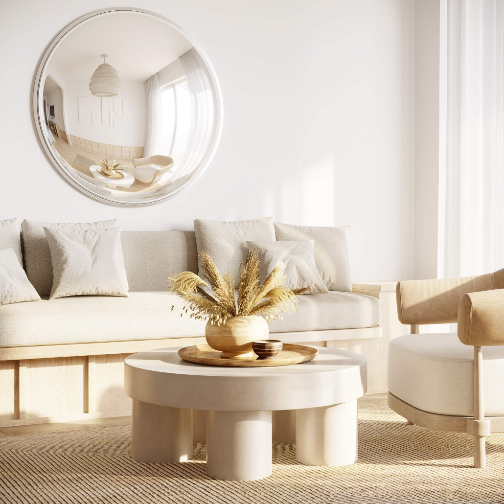 CG Rendering for a Beige Living Room