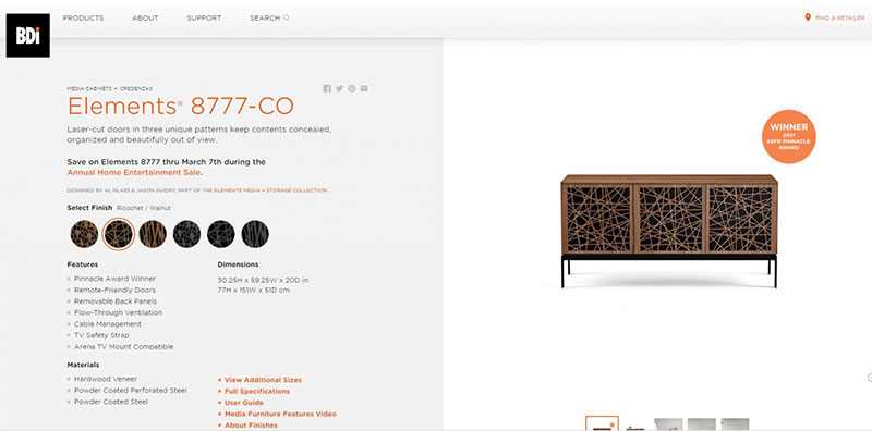 3D Model of a Cabinet on a Product Page