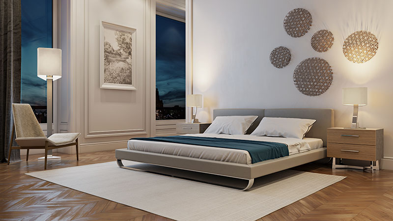 A Bedroom Scene with Light Neutral Furniture