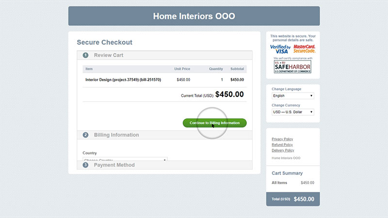A Screenshot of Payment Section on CRM Support Platform
