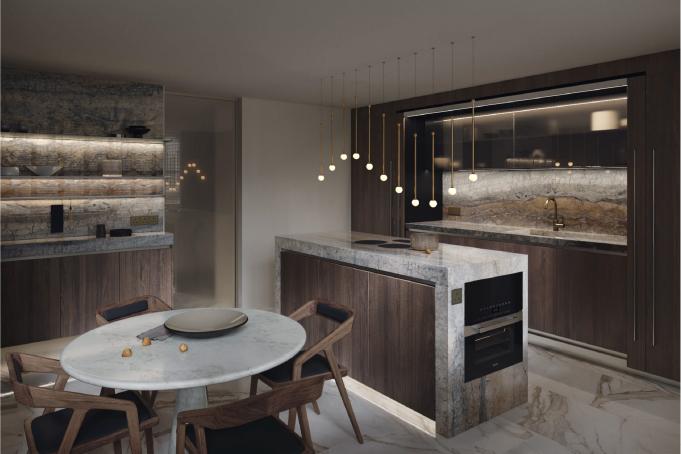 Stylish Kitchen 3D Render