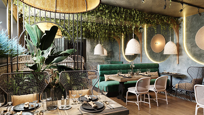 Interior Rendering for an Exotic Cafe