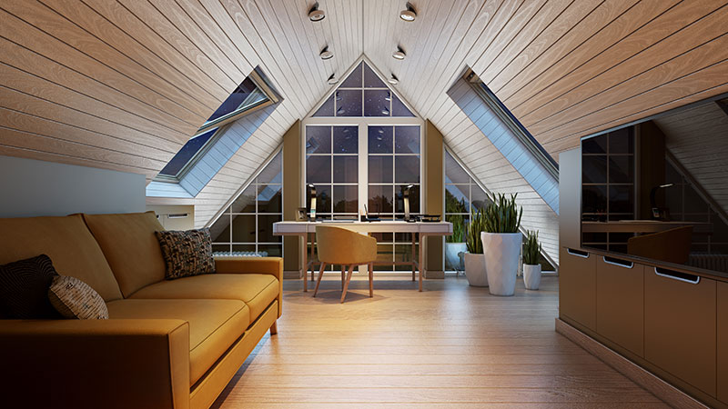 A Cozy Lifestyle for an Attic Study