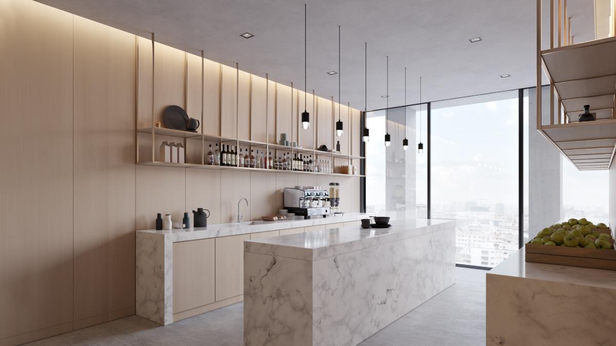 3D Design Render for a Vast Kitchen