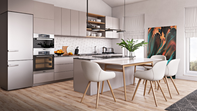 CG Visualization for a Sunlit Kitchen