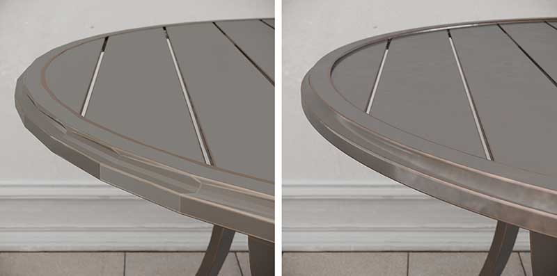 Before and After of 3D Model Retopology for a Table