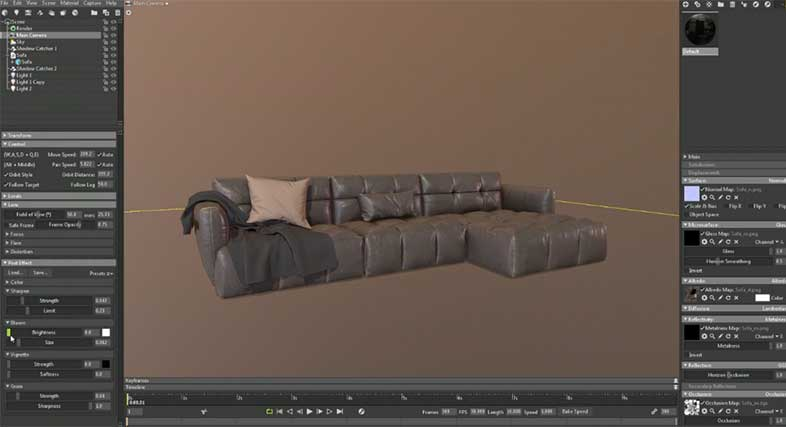 A Screenshot of a Retopology for Leather Couch with a Pillow and Blanket