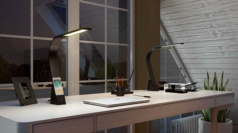 A Close-Up 3D Picture of Modern Desk Lamps with a Charger