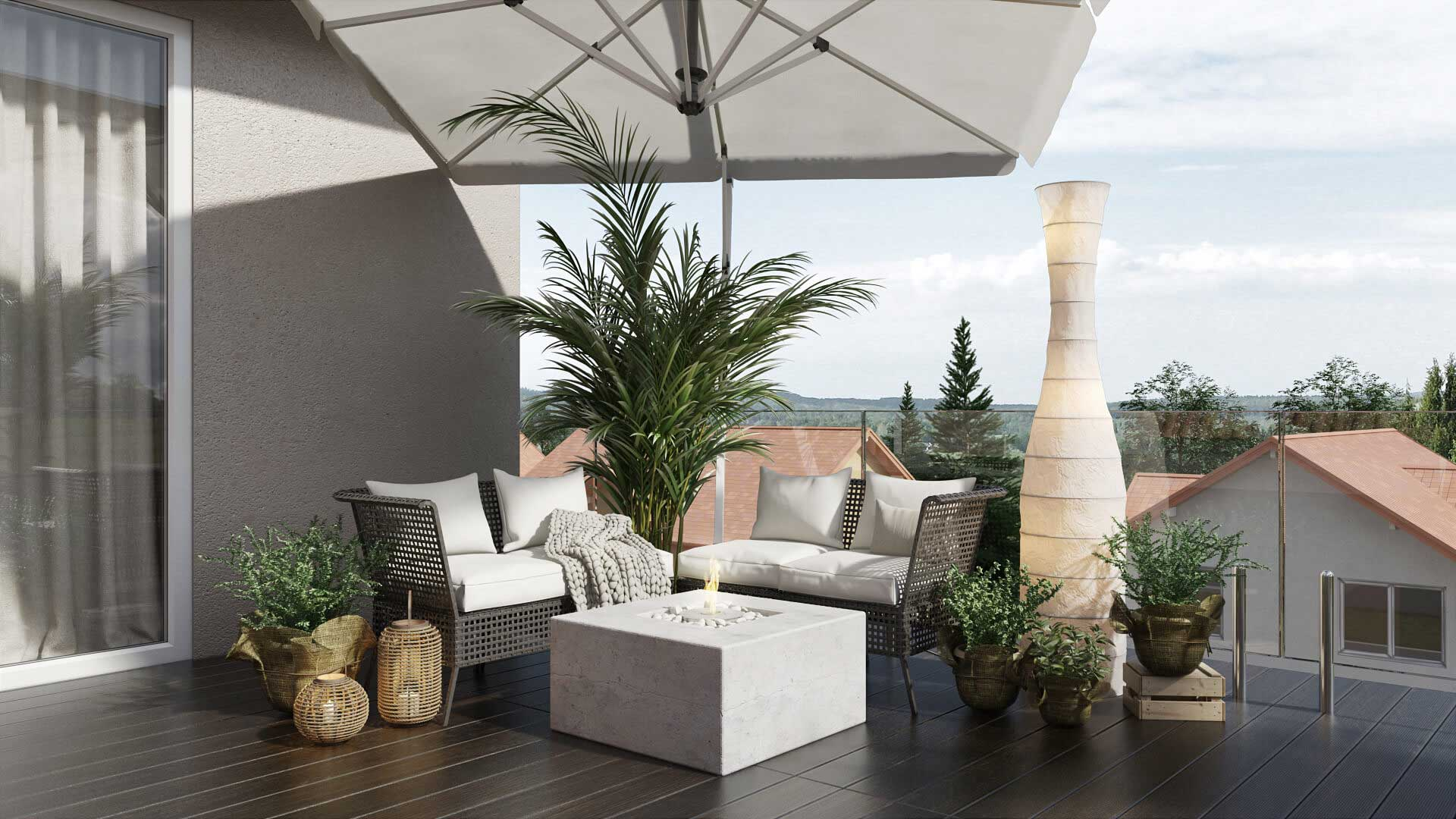 An Outdoor Furniture Set on a Rooftop Terrace
