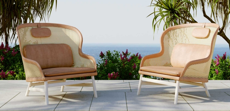 Two Rattan Chairs in a Garden for a Furniture Catalog