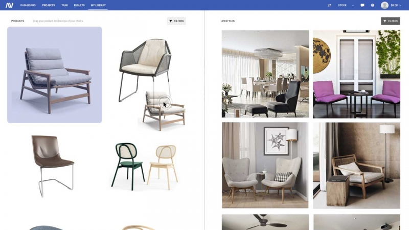Dragging a Furniture Product into a Chosen 3D Lifestyle Image