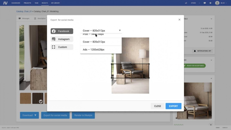 A Menu That Allows Selecting Format for Product Images of Furniture