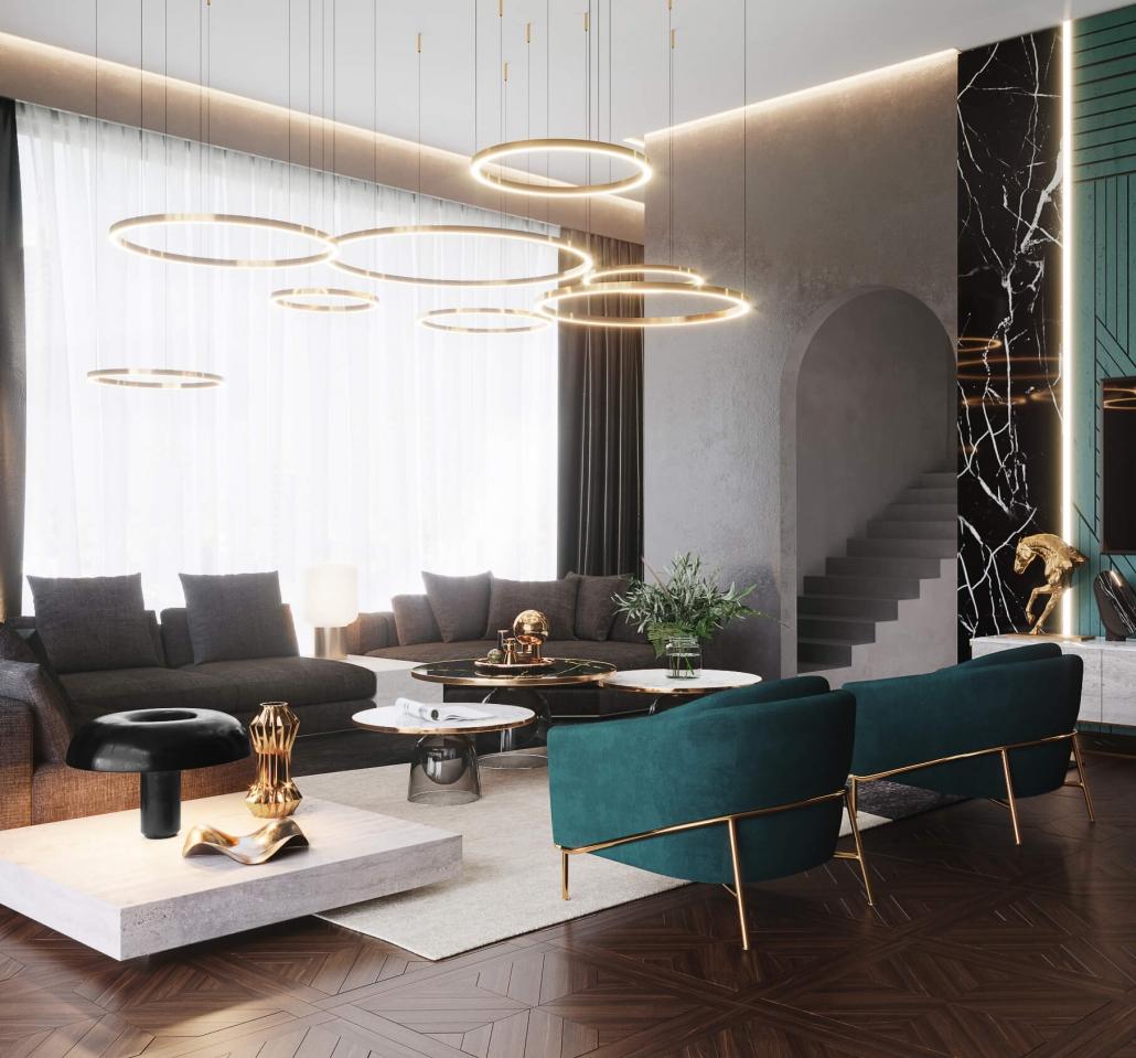 3D Rendering for Living Room Furniture