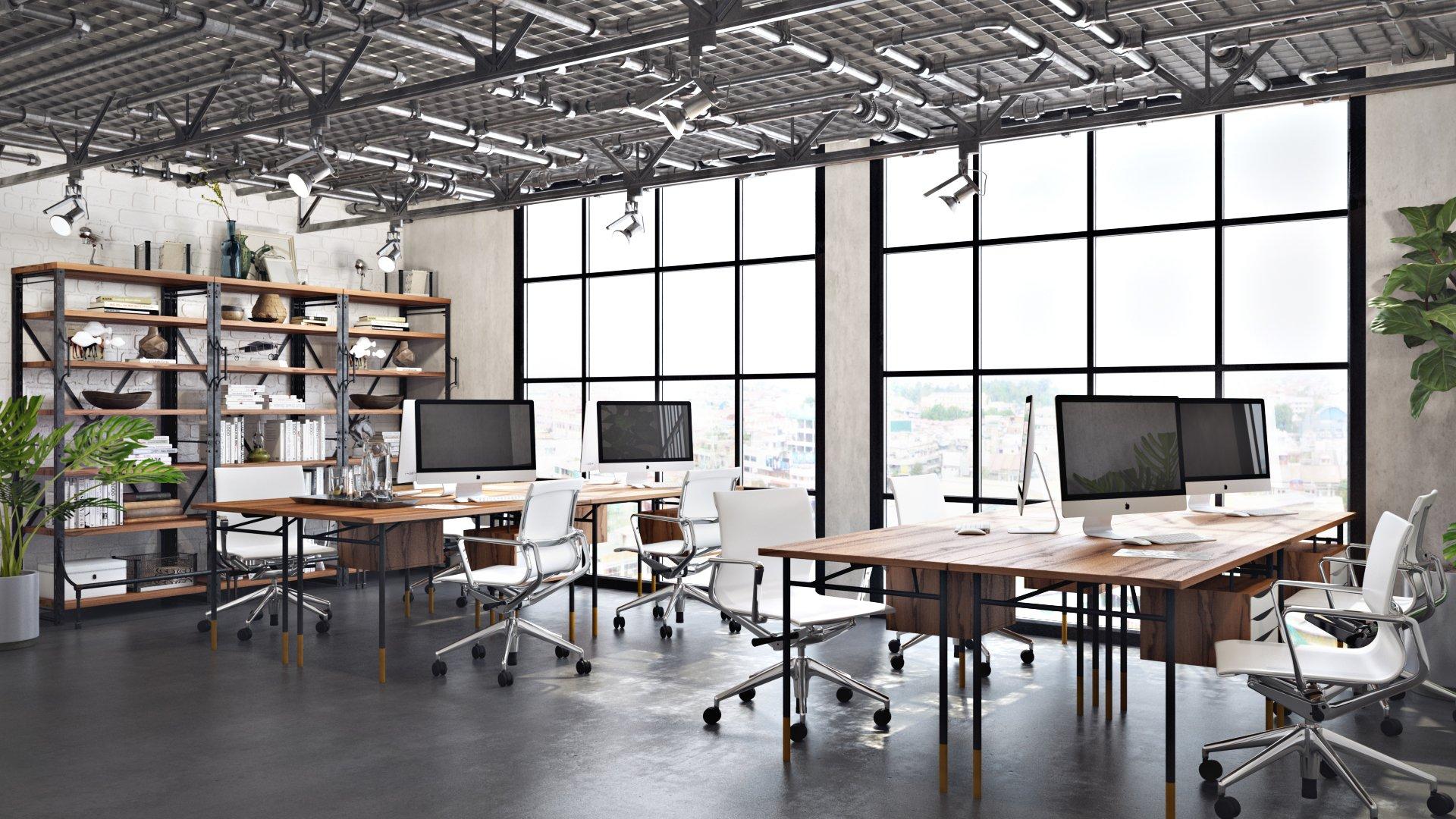 Office Furniture 3D Rendering
