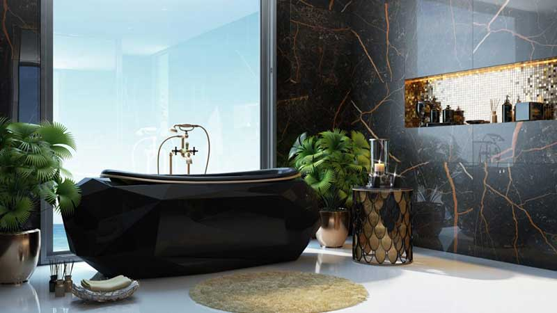 A Product Images for a Black Bathtub