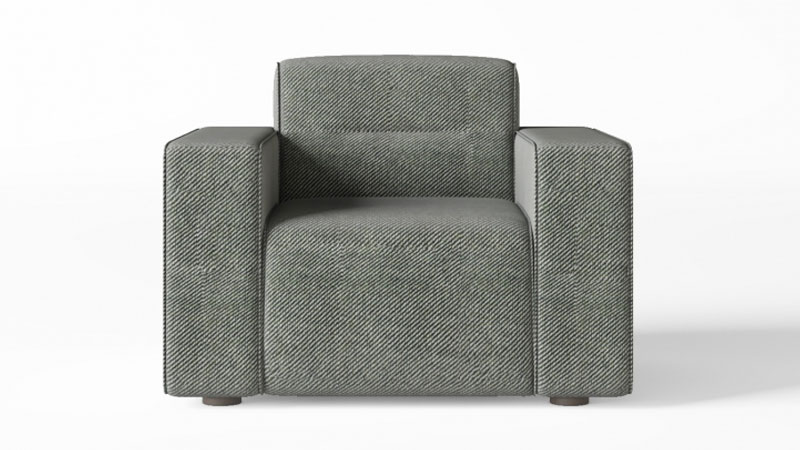 A Screenshot of a 360 Product Spin of a Grey Armchair