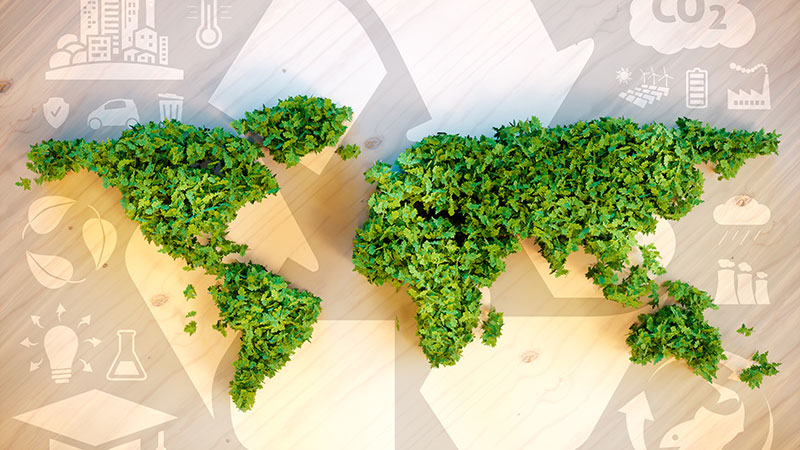 A Green World Map as a Symbol of the Latest Ecommerce Trend on Sustainability