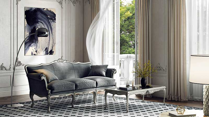 A Lifestyle in 3D with a Grey Classic Sofa