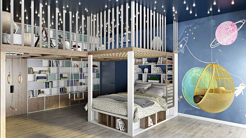 An Interior 3D Image of Two-Storey Children Room
