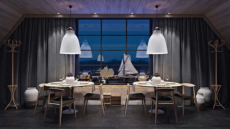 A 3D Lifestyle with Dining Tables and Chairs in a Cafe
