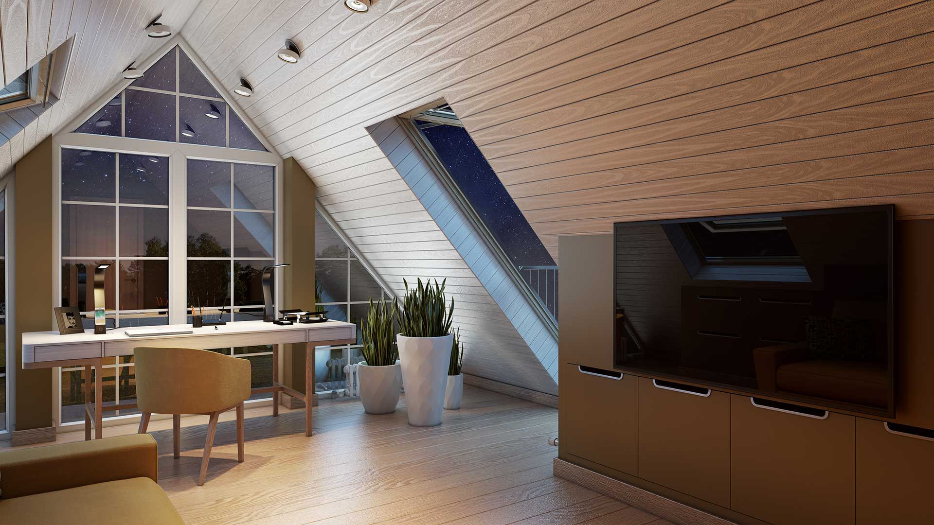 A Lifestyle 3D Picture of an Evening Attic Study