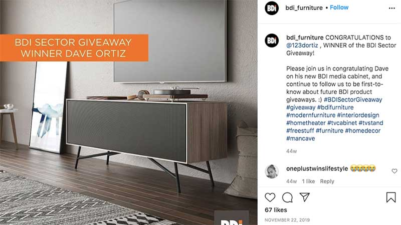 A Screenshot of Manufacturer's Page with Giveaway Visual Ad