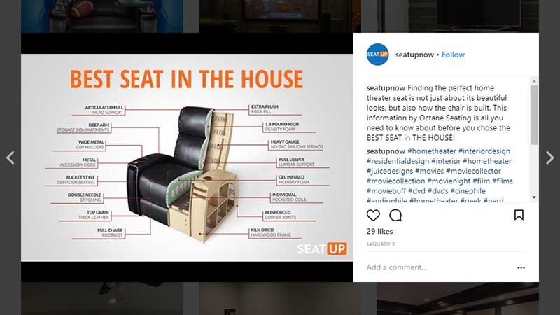 Manufacturers' Instagram Page with Cut-Out View Used for Visual Commerce