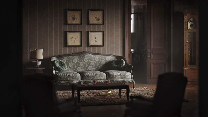 3D Rendering for Product Image of a Classic Couch