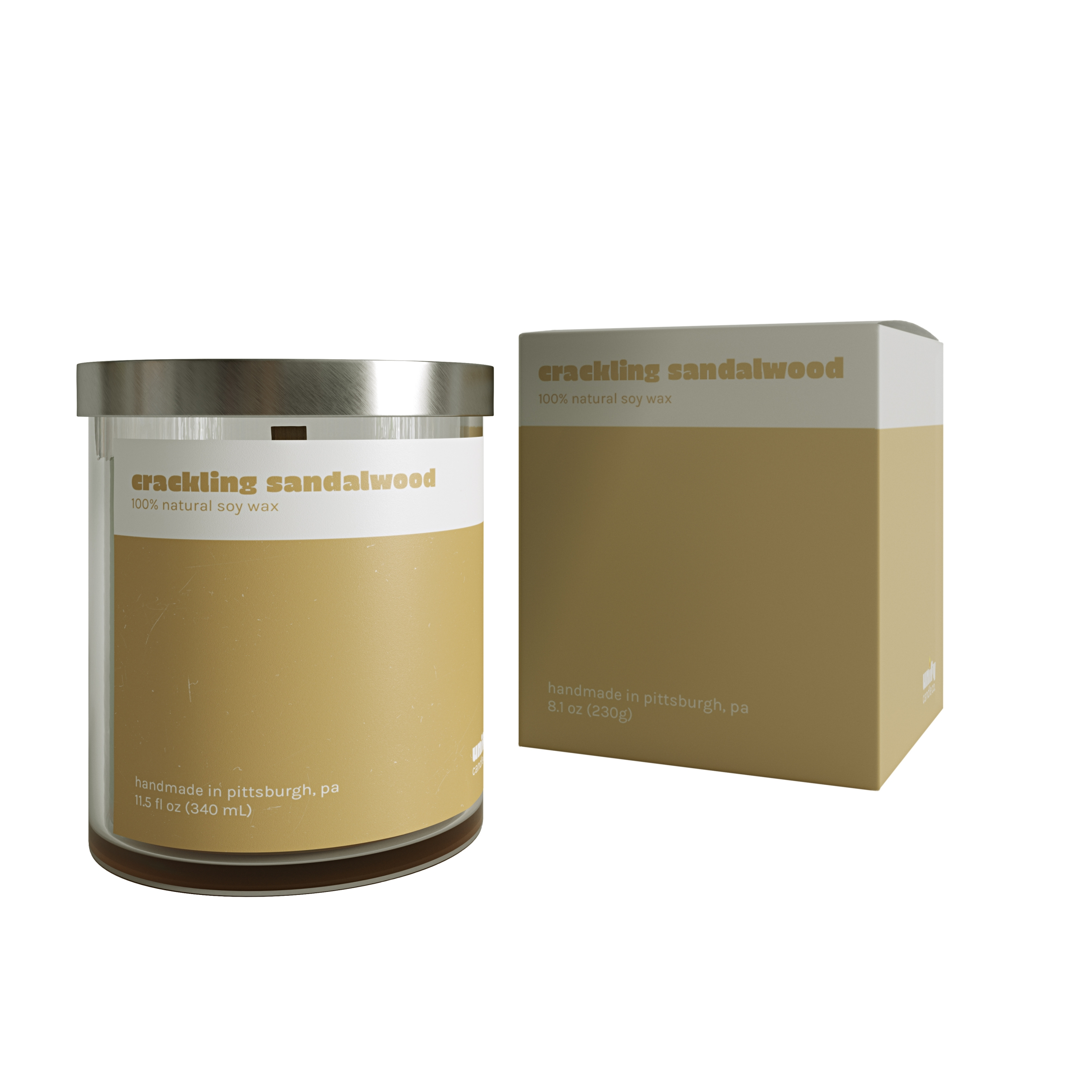 White Background Picture for a Cracking Sandalwood Candle
