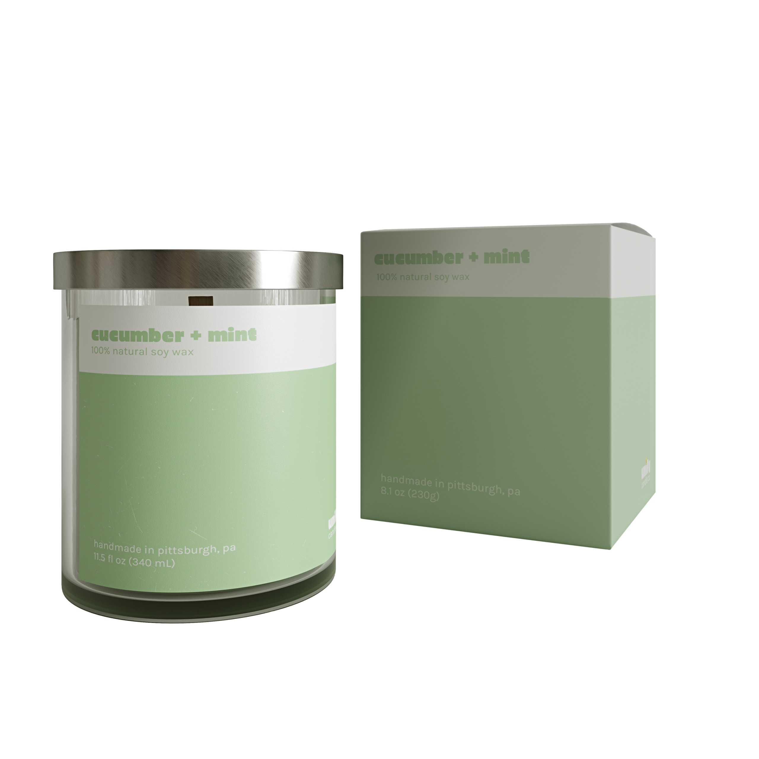White Background Picture for a Cucumber + Mint Candle