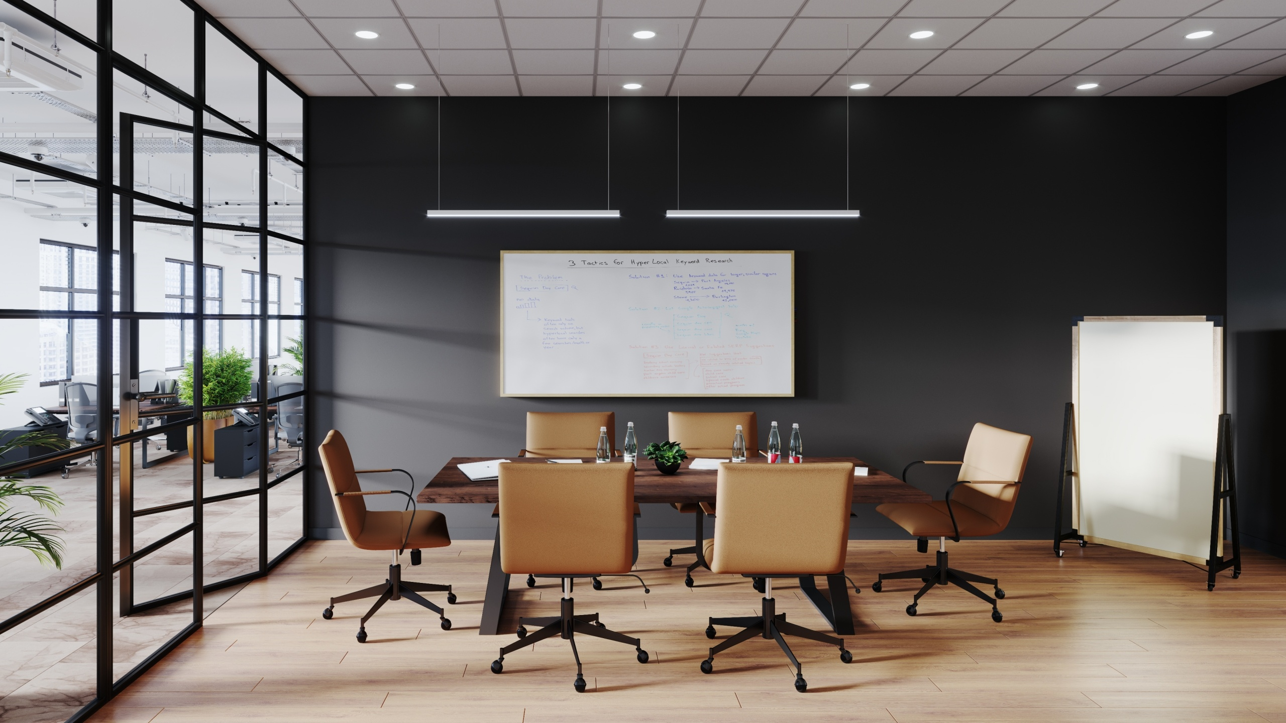 Conference Room Furniture 3D Rendering