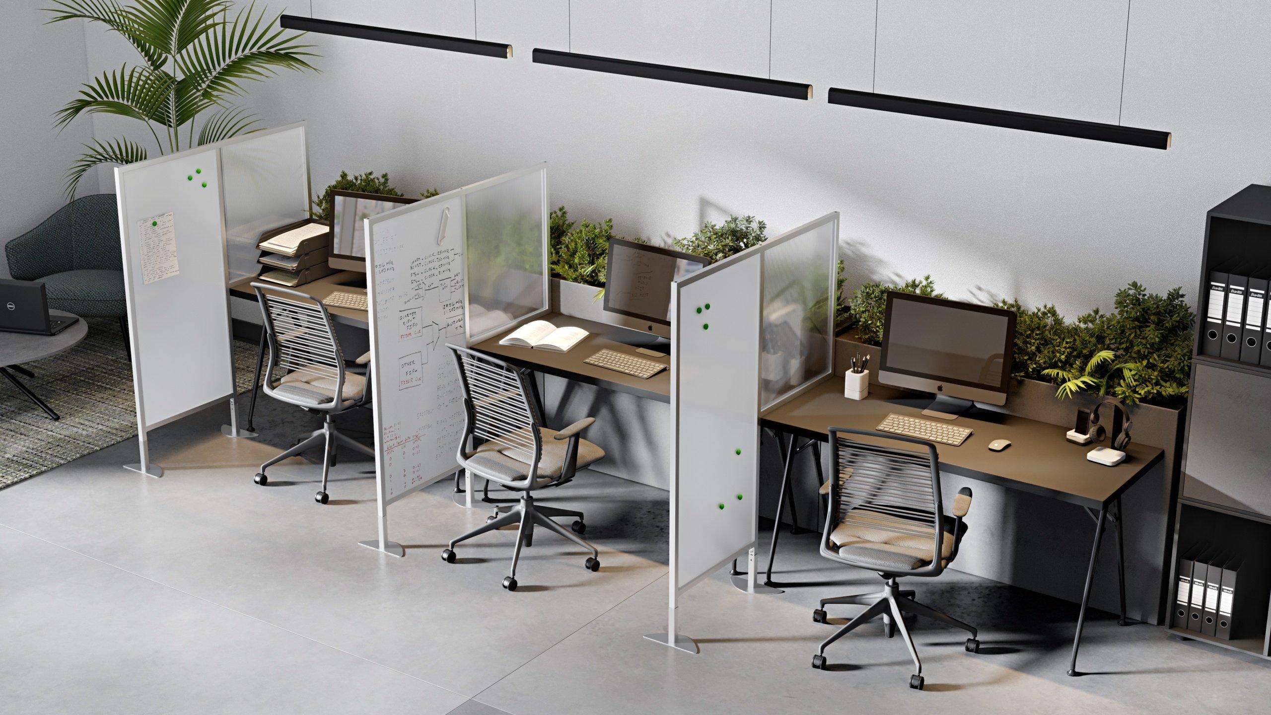 Office Desks 3D Rendering