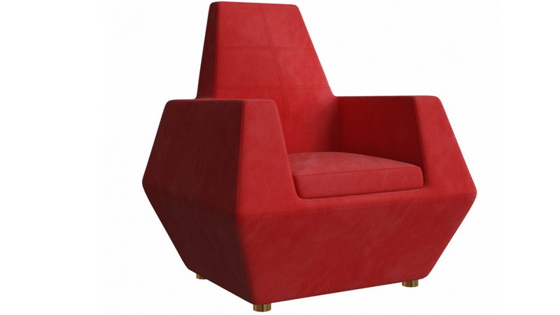 A Red Chair Prototype Made by Customization a Previous Furniture Sample