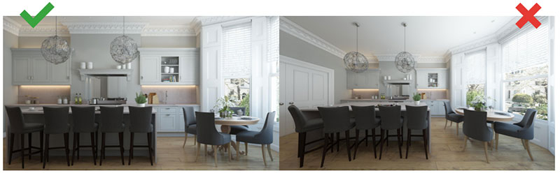 Rendering of a Dining Furniture Collection with Lots of 3D Objects in It