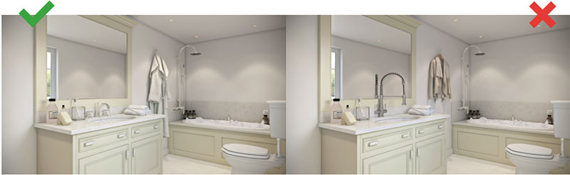 Wrong and Correct 3D Renderings for Bathroom Furniture and Objects