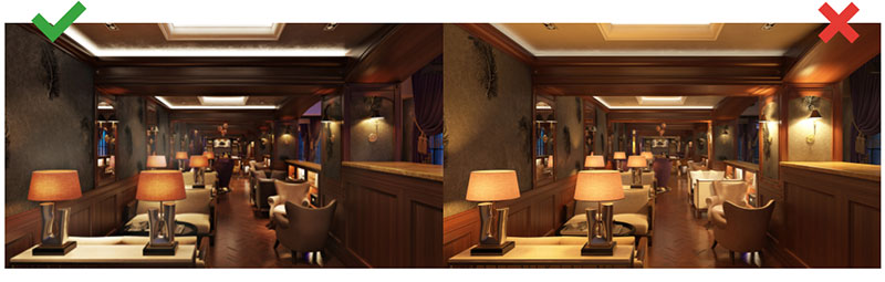 Two 3D Renderings of a Restaurant with Good and Bad Lighting