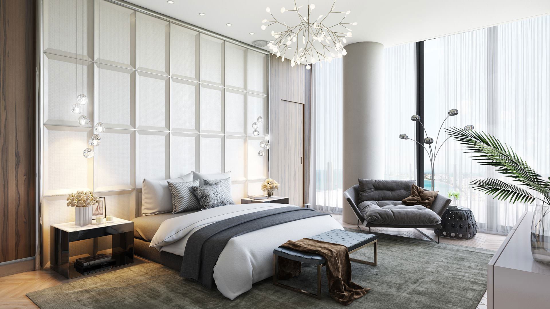 Rendering of a Cozy Bedroom with a Plenty of Furniture and Decor 3D Objects