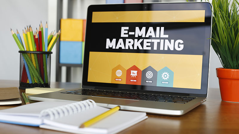A Laptop With Email Strategy for Promo and Advertising of Various Types of Products