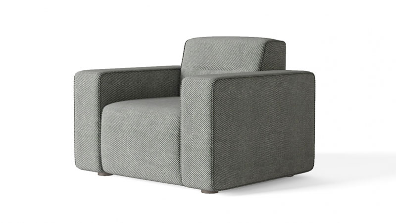 A Grey Armchair on a White Product Background Photo