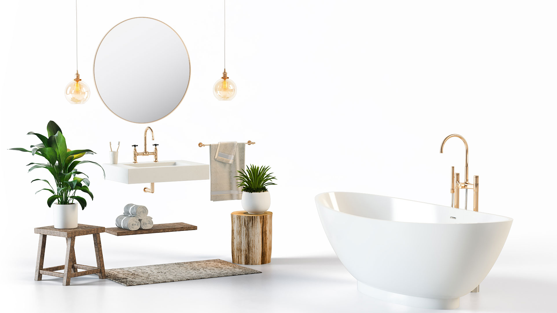A Bathroom Furniture Collection on a White Background