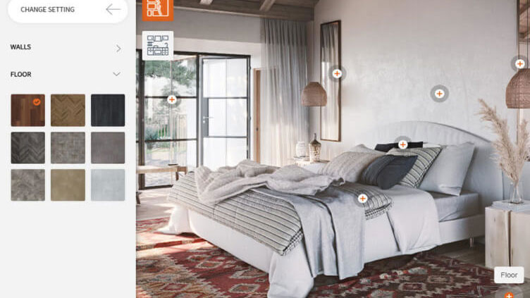 A Bedroom 3D Configurator with Various Design Options for a Product