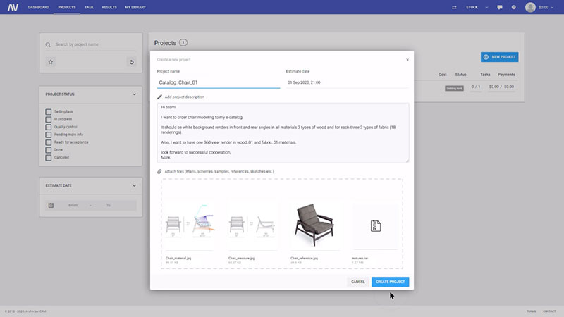 A Screenshot of a Chair Product Rendering Project
