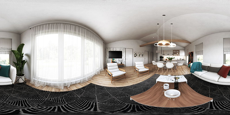 A Panoramic View of a Roomset Rendering for Chair Promo