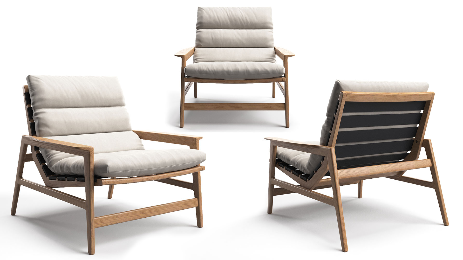 A Rendering Collage of Three Angles of the Same Chair