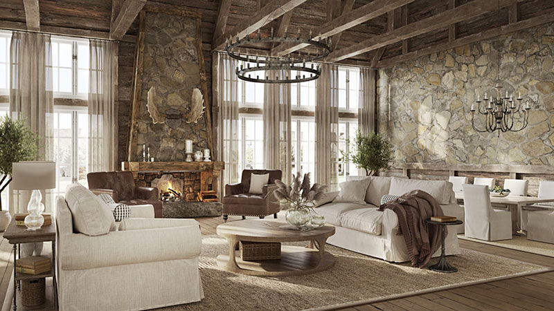 A Country House Interior with Rustic Furniture and Design Elements