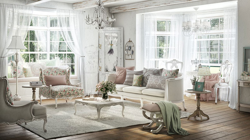 Nice Shabby Chic Interior Design For a Country Living Room