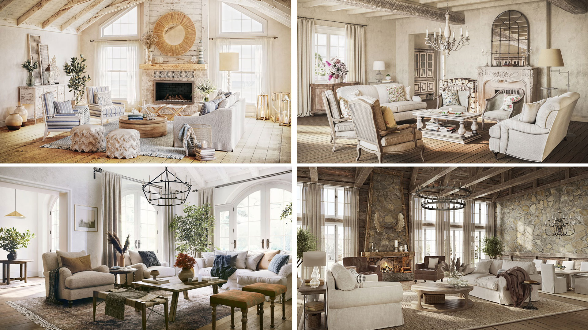 Four Interiors Designed Different Country Styles